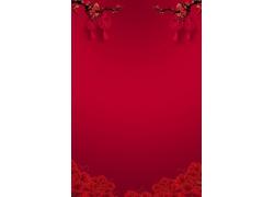 红色鲜花喜庆背景