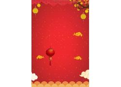 红灯笼金色花纹海报