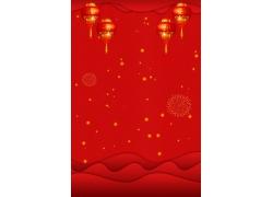 大红灯笼烟花背景