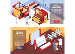 简约现代工厂工人生产加工流程设备3D模拟设计矢量图