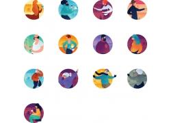 圆形里的各种运动人物