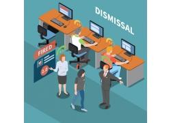 简约商务失业解雇3D模拟场景设计矢量图