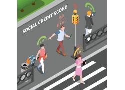 简约休闲市民大众工作积分3D模拟场景矢量图