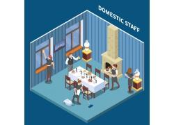 现代简约餐厅女服务员服务3D模拟场景设计图