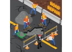 现代简约道路施工维修操作员工程现场3D模拟场景设计图