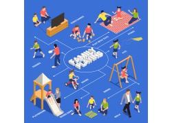 现代简约亲子互动运动3D模拟场景设计图