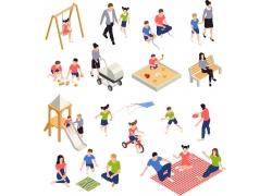 现代简约社区亲子互动活动运动3D模拟场景设计图