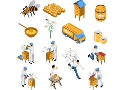 现代简约养蜂产业3D模拟场景设计图