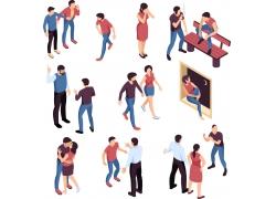 现代简约三角恋恋爱模拟场景设计图