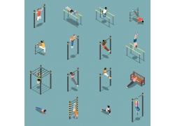现代简约社区学校操场体育锻炼3D模拟场景设计图