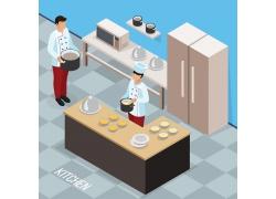 现代简约西式糕点点心面包房工作3D模拟场景设计图
