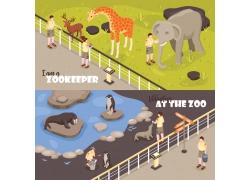 现代简约参观动物园3D模拟场景设计图
