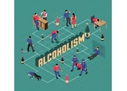 现代简约醉酒吵架喝酒3D模拟场景设计图