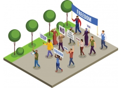现代简约街头游行抗议3D模拟场景设计图