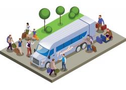 现代简约乘坐旅游长途大巴旅游3D模拟场景设计图