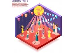现代简约生日会party3D模拟场景设计图