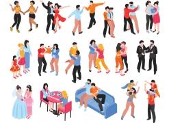 现代简约联谊party舞会恋爱过程3D模拟场景设计图