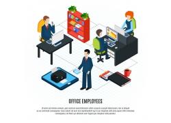 现代简约商务办公室环境模拟场景矢量图