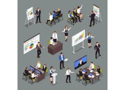 现代简约商务各种办公室会议会议室开会3D立体模拟矢量图