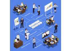 现代简约商务各种办公室会议室开会3D立体模拟矢量图
