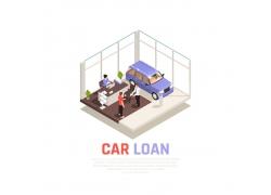 现代简约商务汽车销售4S店模拟设计矢量图