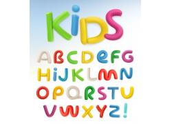 现代简约彩色卡通可爱26个英文字母设计矢量图