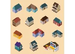 简约彩色卡通可爱建筑房子模型模拟设计矢量图