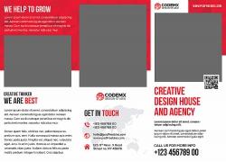 简约现代商务红色画册宣传单页海报设计模板
