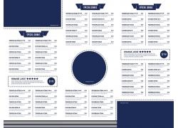 简约商务蓝色餐厅菜单食谱设计模板矢量图