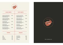 简约橙黄色餐厅菜单食谱设计模板矢量图