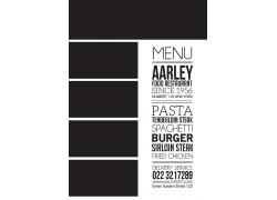 简约黑色餐厅菜单食谱设计模板矢量图