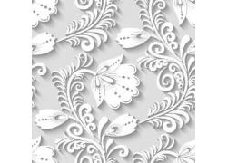 白色立体雕刻花朵图案