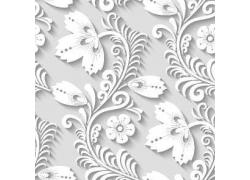白色立体花朵图案