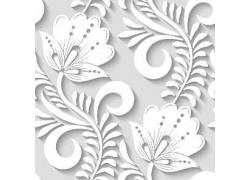 白色立体植物树叶花朵图案
