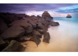 岩石河流风景摄影图片