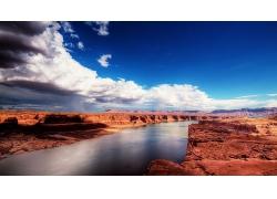 湖泊岩石大自然风景摄影图片