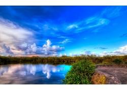 蓝天白云大河湖泊大海风景摄影图片