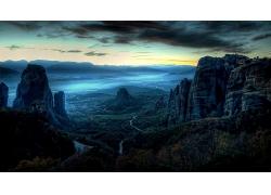 自然岩石山蓝色天空风景摄影图片