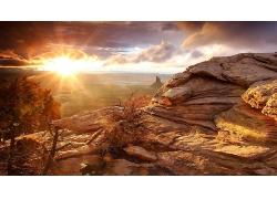 大自然岩石山日出风景摄影图片