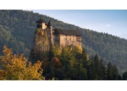 岩石大山建筑城堡森林风景摄影图片