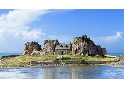 岩石大山建筑小屋风景摄影图片