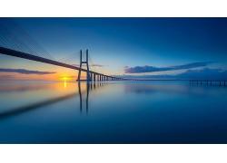海上大桥建筑风景摄影图片