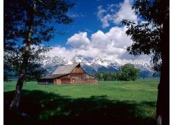 蓝天白云森林建筑景观风景风光摄影图片