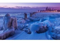 雪景大海冬季城市海濱城市海邊自然景觀風光風景照片