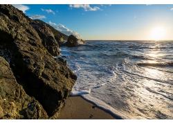 海岩石头海滩沙滩海边大海风光风景景观照片
