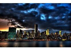 紐約市城市天空烏云夜晚燈光風景風光景觀照片