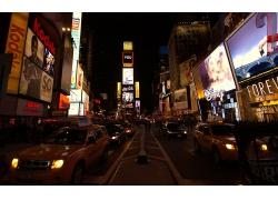 纽约市城市建筑高楼道路夜晚汽车风景风光景观照片