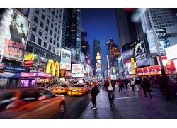 纽约市城市汽车建筑夜晚街道街景风景风光景观照片