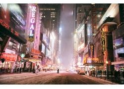 紐約市城市汽車建筑夜晚街道街景風景風光景觀照片
