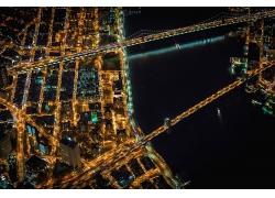 紐約市城市高樓夜晚鳥瞰圖風景風光景觀照片